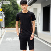 Men's sports suit, summer morning jogging clothes, sportswear, casual clothes, short sleeves, five minutes, shorts, fitness, two pieces