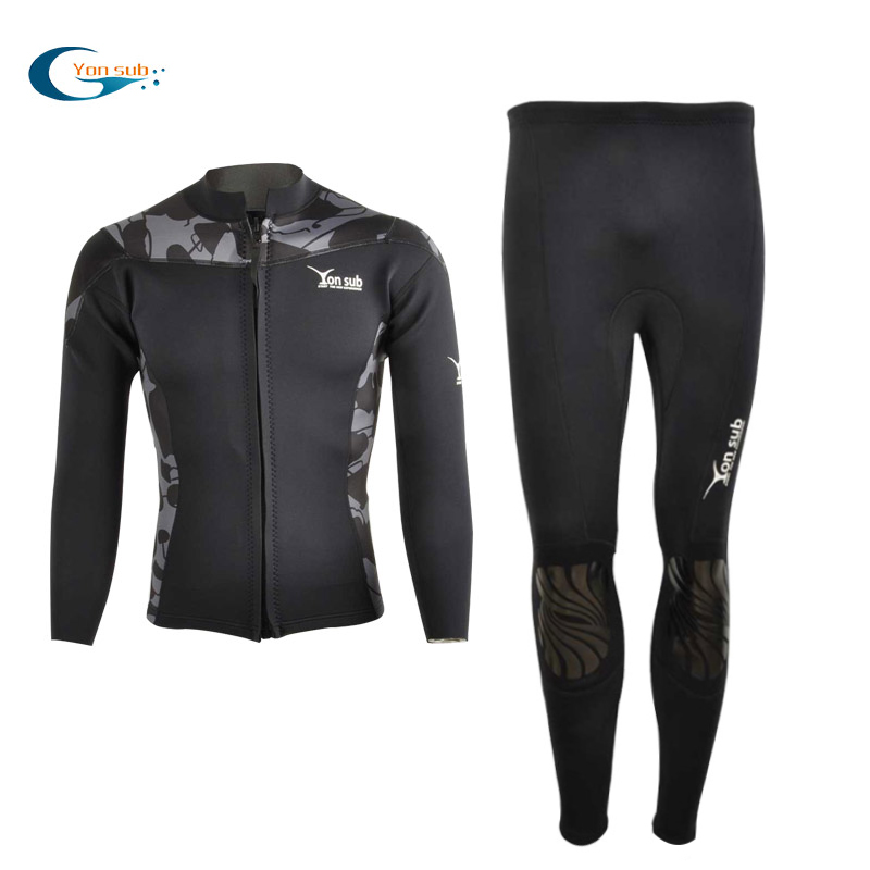 [The goods stop production and no stock]Diving suit split Yonsub fashion men's 2mm warm and cold-proof long-sleeved zipper snorkeling suit sunscreen surfing suit