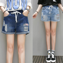 Adding fertilizer XL loose denim shorts hot pants elastic waist and 200 pounds extra fat sister summer and foreign trade