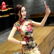 Ran Ting new spring and summer fashion to improve the moral of the silk dress short edition of a large number of girls daily cheongsam dress