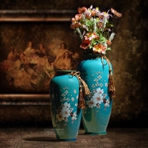 American country Ceramic vase decoration Jane ou personality Flowers Long bottle Mediterranean blue ice crack porcelain Home Jewelry