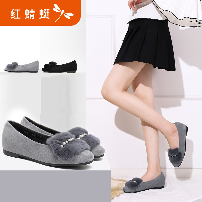 Red 蜻蜓 women's shoes autumn new authentic fashion rabbit hair shallow mouth flat shoes women casual shoes women's shoes