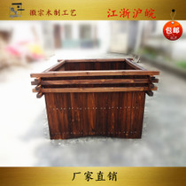 carbonized anticorrosive solid wood flower box outdoor square large flower bed outdoor horticultural flowerpot flower bed planting tree basin bucket