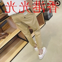 Hong Kong purchase nine points in spring and summer pants tide male Korean version of the simple solid colors feet pants slim Joker thin slacks