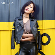 SHE FOX Haining leather leather female short paragraph sheep skin motorcycle clothes Yang Mi Tang Yan star with leather