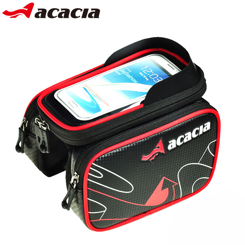 Acacia bicycle bag touch screen saddle bag mountain bike front beam package phone tube riding equipment accessories