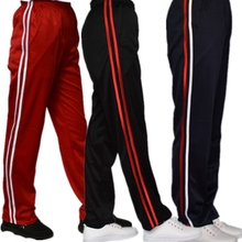 Blue two bar school uniform pants dark blue white striped school Pants Black White sports pants men's and women's school uniform