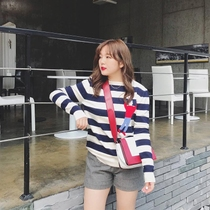 Fall winter fat mm slim Joker cover meat color striped knit shirt