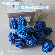6 cm with pole gold powder roses Single blue goblins fake flower simulation flower Valentines Day special flowers