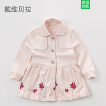 New calamus daiweibeila davebella childrens clothes ragazza Spring Flower cotton printing lapel trench coat