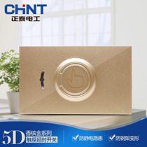 (Zhengtai) Zhengtai 118-type wall switch socket NEW5D steel frame Champagne Gold Touch delay switch