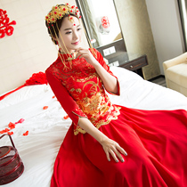 2017 new Chinese wedding dresses bride toast in autumn and winter clothes dress long married slim show Wo clothing women