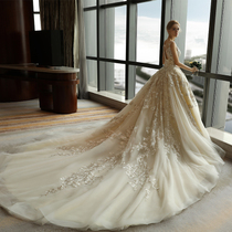 One shoulder slim luxury in pregnant women in Europe and America long trailing wedding dress
