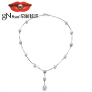 Beijing S925 Jane silver inlay White Freshwater Pearl Necklace / fine blemish round pearls for her mother
