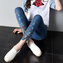 Embroidered jeans womens spring and summer styles embroidered slim stretch students occur when the nine-point pants feet pants