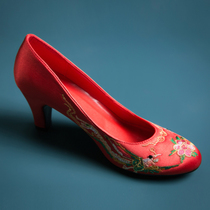chinese wedding shoes junior high heels wedding shoes slope and dragon and Phoenix shoes show wo dress red Bride Wedding Shoes