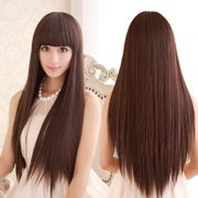 Wig long straight hair, black hair, long hair, long hair, fluffy, natural, sweet and lovely wig