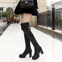 Autumn and winter boots European and American knee boots slope with high boots boots stovepipe stretch boots high-heeled boots