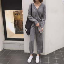 Matou autumn thin section drawstring casual jumpsuit Korean version of the tide of students with pants fashion pants long pants
