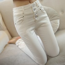 New spring and summer high waist jeans slim thin pencil pants feet pants Korean white stretch pants children