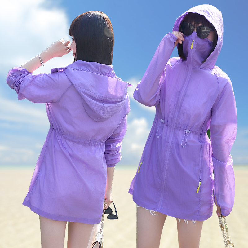 Single Layer Fairy 2019 New Mid-long Outdoor Sports Light Skin Fast-drying Windbreaker Loose Coat for Summer