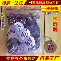 Snack bar Round stainless steel number mark Digital brand hotel left number such as plate store package grade