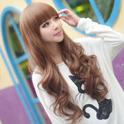 Female wig long curly hair wavy Qi oblique bangs thin fluffy wig face realistic pear whole