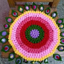 手工编织 创意礼品 孔雀羽坐垫