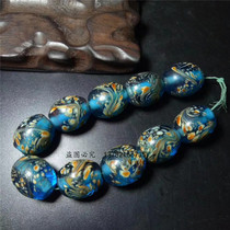 Clearance Antique Miscellaneous Parts collection of ancient pharaohs glass Lake Blue Phoenix round beads necklace hand string diy with beads scatter beads