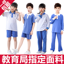 Shenzhen school uniform uniform primary school students summer autumn and winter sports mens and womens sets summer short-sleeved top shorts