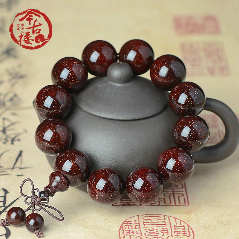 This ancient building collection-grade Indian Venus old material small leaf eucalyptus string 20mm male and female 1.8 Buddha bead bracelets