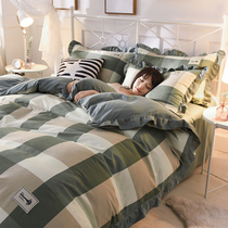 Korean version of knitted cotton bed four sets of washed cotton simple thickening frosted princess wind lotus leaf Lace sheet quilt cover