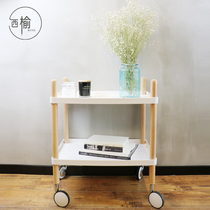 Nordic minimalist hand push four-wheeled household dining car Multifunctional tea cart storage mobile coffee table wine car