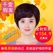A variety of hair wig female elderly mother 100% hair short hair Quanzhen oblique bangs wig lifelike face