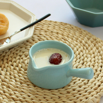 Champing Japanese ceramic milk pot milk tank 150ML with handle spoon milk cup coffee cups dessert bowl