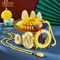 (Garamido)Natural Russian material without optimization Chanterelle yellow beeswax 108 Buddha beads hand string pendant live special shot