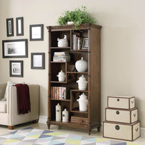 Oscar American country solid wood bookcase Simple ancient study small bookcase bedroom locker display cabinet