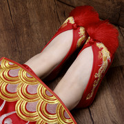 Old Beijing bride shoes handmade embroidery wedding shoes red shoes with a Chinese cotton Xiuhe female shoes