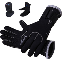 3MM Professional diving Gloves socks hat hooded swimming winter snorkeling anti-skid warm swimming gloves equipment