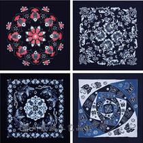 Guizhou Batik cotton square tablecloth hanging cloth bai tie-dyeing national wind decoration painting Miao characteristics handicraft tablecloth