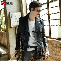 Mo Morrison spring and autumn mens genuine leather Korean version of slim youth jacket