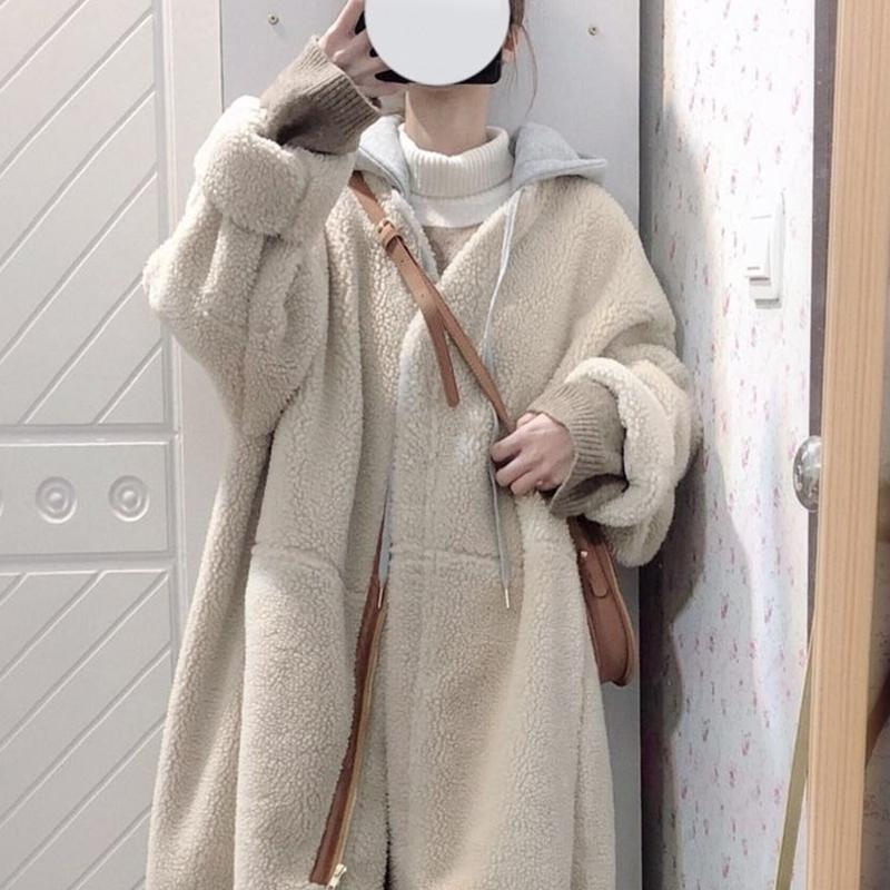Lamb wool cotton dress womens winter dress 2020 new chic cotton wool thick loose pregnant womens coat medium long version