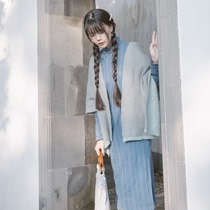 Tiudei-Accomplishment Ling original design ancient blue autumn and winter Republic wind Girl self-cultivation striped long cheongsam