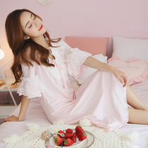 Korean edition cotton Fresh Lace Lady summer student nightwear