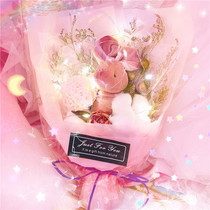Fantasy Girl Heart led lamp rabbit bouquet dried flowers simulation holiday gift rabbit bouquet Pink Flower Bag