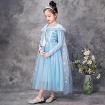 Ледяная принцесса платье странно 2 Айза дети маленькая девочка с длинным рукавом Айза девушка платье ребенок Айша весна осень