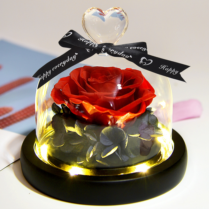 Immoral Flower Gift Yeezy Valentines Day gift glass-covered rose dry flower manufacturer Amazon cross-border