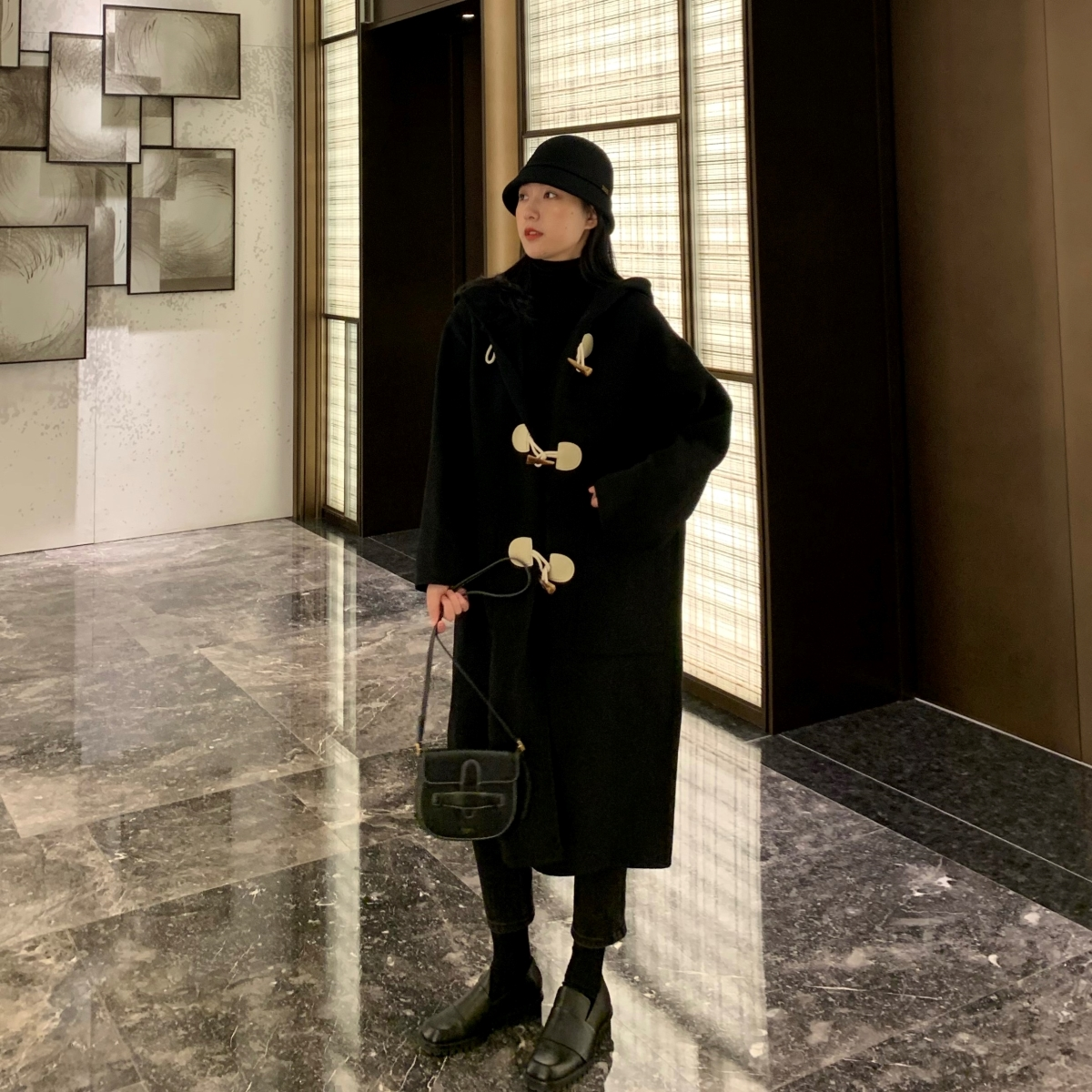 Horn buckle coat womens autumn winter 2020 new Japanese small medium-length version of the double-sided cashmere coat