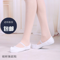 Red dance shoes Korean shoes dance shoes soft bottom canvas practice shoes female folk dance shoes summer loose flat shoes 10053