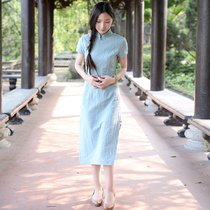 Spring and summer collar plate buckle cotton linen improved daily literary cheongsam
